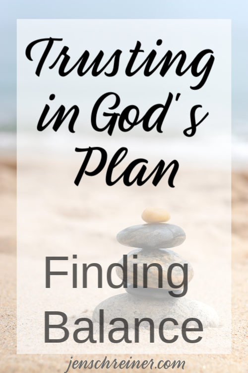 It is very easy for us to lose control when the demands of life are overwhelming. Can we trust that God knows best? Finding balance is more than trying to remain in control. We must trust in God's plan.