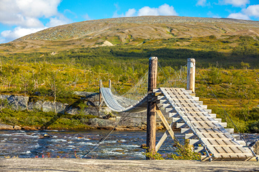 hanging rope wooden bridge over the mountain river - the key to true success