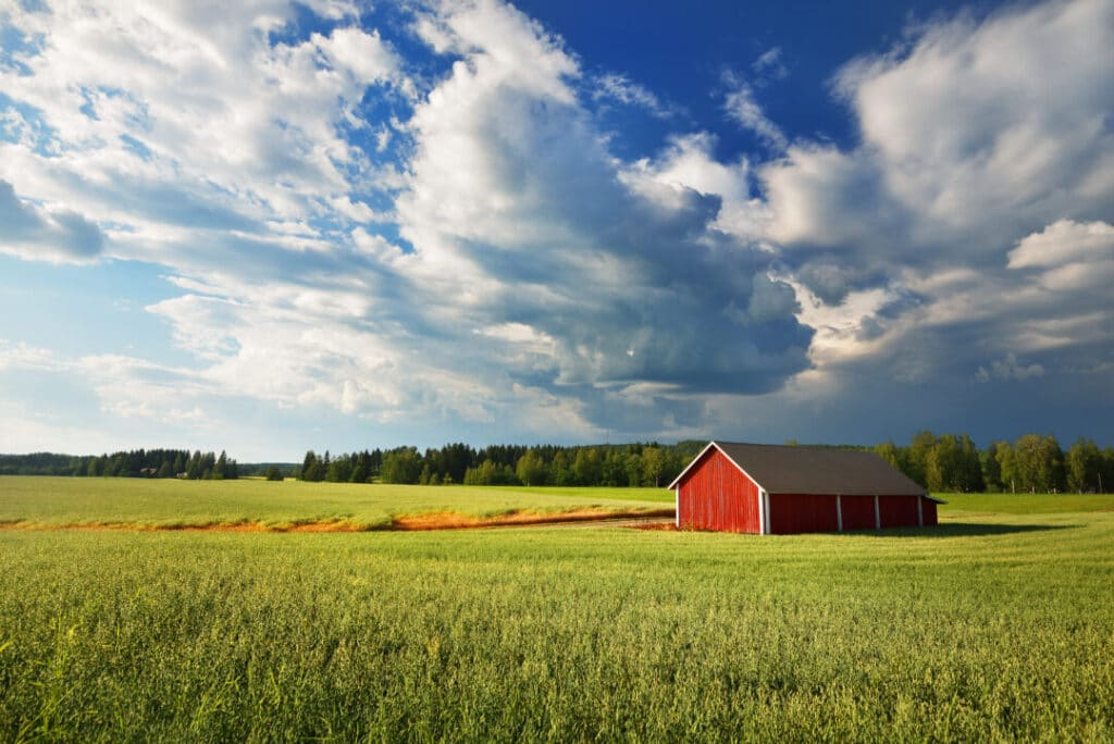 Red barn in open tall green grass with blue sky - Your Best Gift To The World Is You!